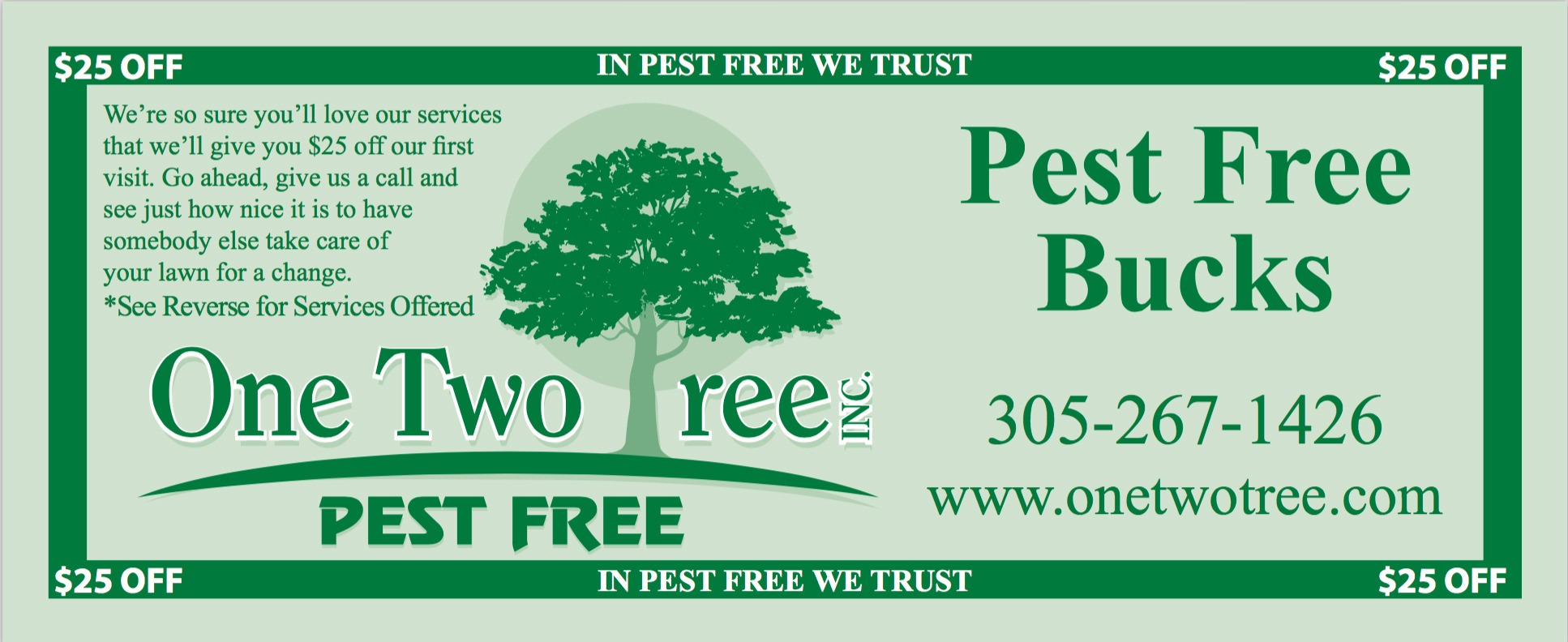 Coupon, One Two Tree customer promo.