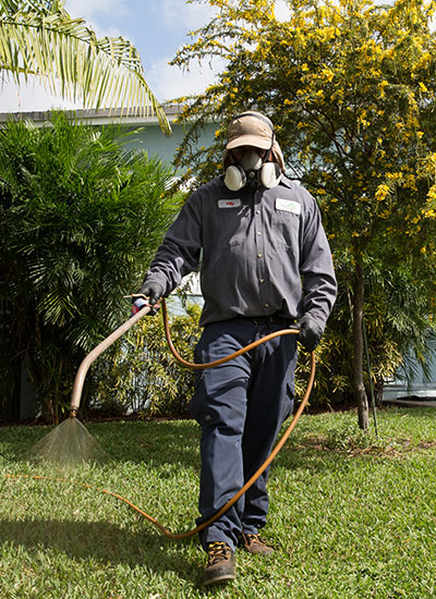 A technician cares for a customer's lawn in South Florida.