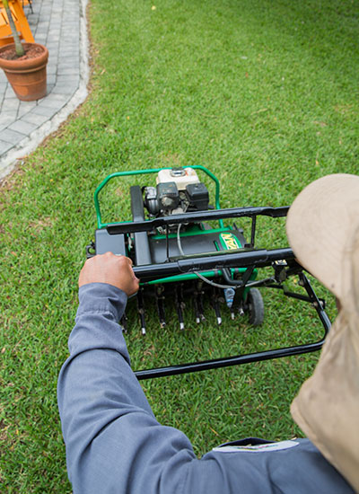 One Two Tree lawn care includes aeration of the soil.